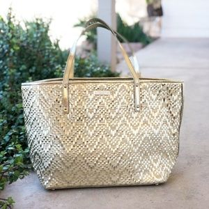 Kate Spade Gold Wicker Tote Bag